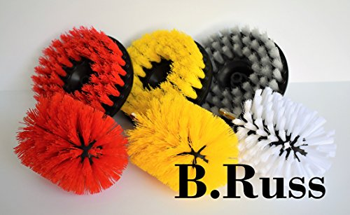 (High Qlty Drill Brush, Rotary Brush Cleaning Kit, Set of 6 Brushes for Carpet, Car Mats and Tires, Tiles, Stone, Concrete, Bathroom, by B.Russ)