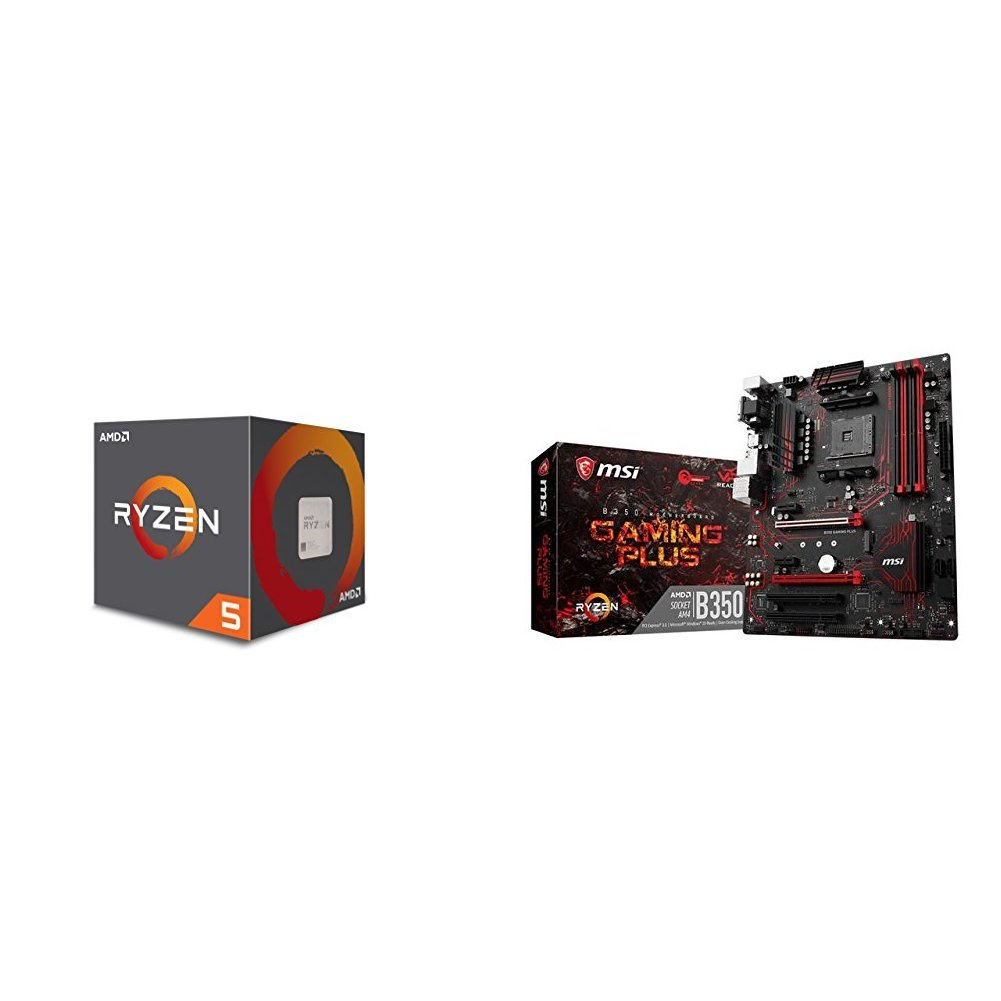 AMD Ryzen 5 1400 Processor with Wraith Stealth Cooler (YD1400BBAEBOX) and MSI Gaming AMD Ryzen B350 DDR4 VR Ready HDMI USB 3 ATX Motherboard (B350 GAMING PLUS)