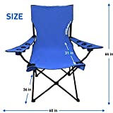 Giant Oversized Big Portable Folding Camping Beach Outdoor Chair with 6 Cup Holders! Fold Compact into Carry Bag ? Blue