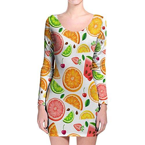 Verano frutas manga larga Bodycon vestido