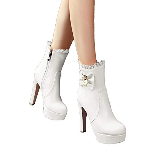 ... e Invierno Zapatos para Mujer Sexy Malla Rhinestones Bow Stiletto Tacón  Alto Martin Botas Zapatos de Piel 4bc676c52bf28