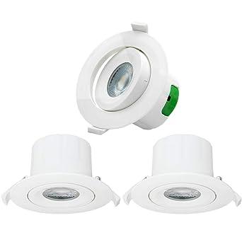 Luces LED Focos Plafones de Empotrables Techo Downlight LED Redondo Direccional 9W Luz Fria 5000K 800Lm