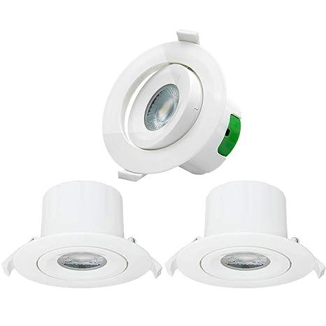Luces LED Focos Plafones de Empotrables Techo Downlight LED Redondo Direccional 9W Luz Fria 5000K 800Lm Agujero de Techo 85-90M Dirección de ...