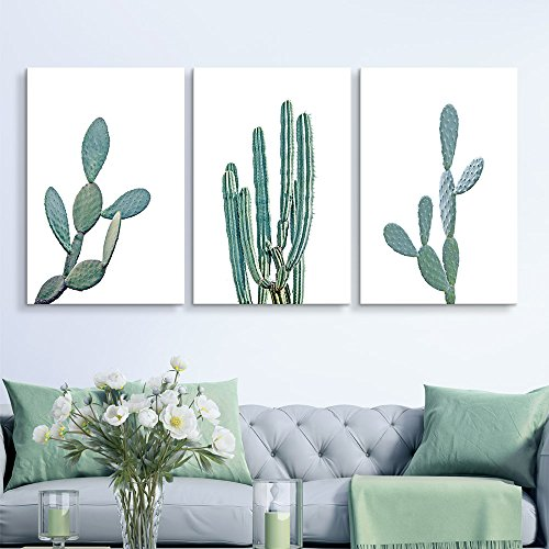 Cactus on White Background Wall Decor x 3 Panels