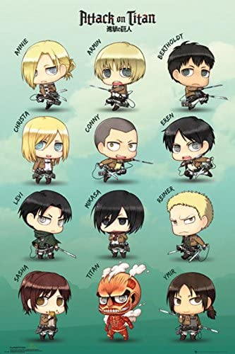 Maxi Size 36 x 24 Inch Attack On Titan Chibi Group Official Poster New