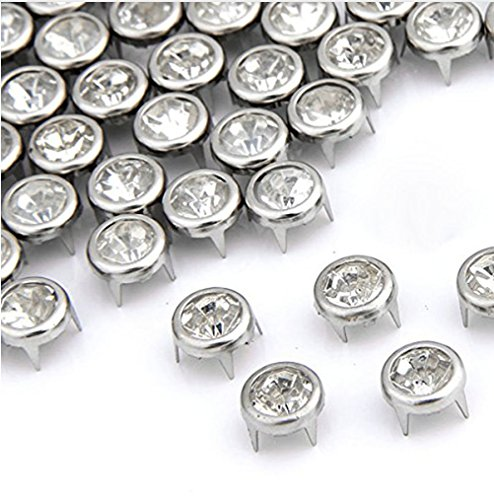 100pcs 7mm Round Rhinestone Crystal Prong Studs Nailheads Spike Decoration DIY DP045