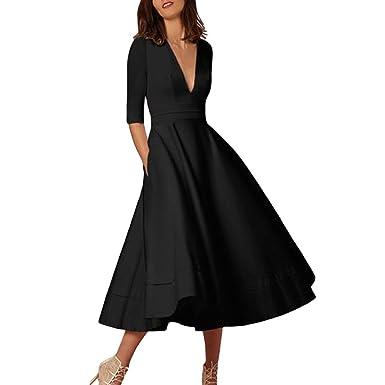 591105f871536 Women Cocktail Dress Ladies Elegant Deep V Neck High Waist Vintage ...