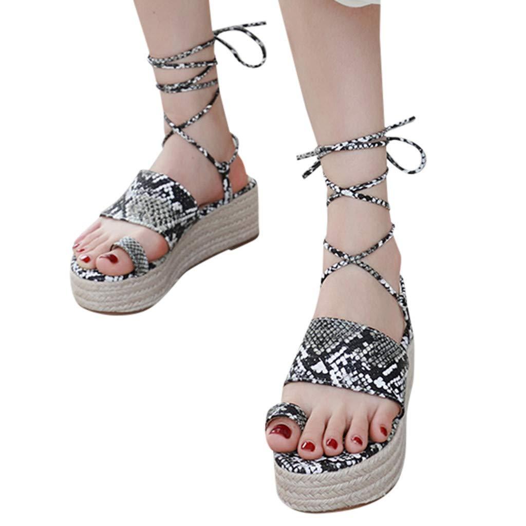 Cewtolkar Women Sandals Thick Bottom Sandals Roman Shoes Straps Wedges with Open Toe Platform Shoes Black