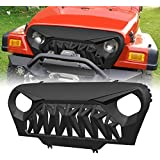 Allinoneparts Front Shark Grille for Jeep Wrangler Rubicon Sahara Sport TJ 1997-2006, Matte Black