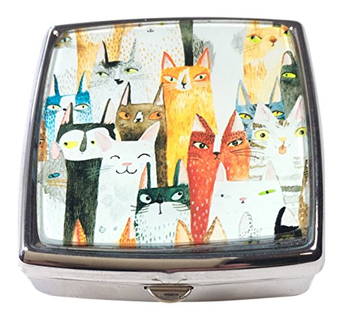 Pill Box by Value Arts, Whimsical Cats, 2 Compartments, 2