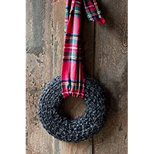 Wreath for the Front Door | Charcoal Knit Wreath | Unique Fall and Winter Decor | RusticTartan Plaid Fabric Ribbon 101
