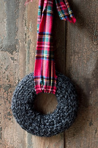 (Wreath for the Front Door | Charcoal Knit Wreath | Unique Fall and Winter Decor | RusticTartan Plaid Fabric Ribbon)