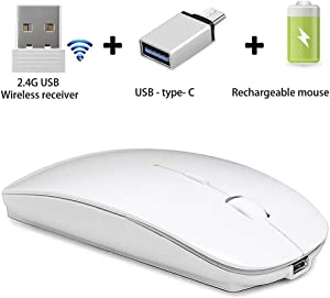 Rechargeable Wireless Mouse for Laptop Mac MacBook pro MacBook Air Laptop Windows iMac Desktop (White)