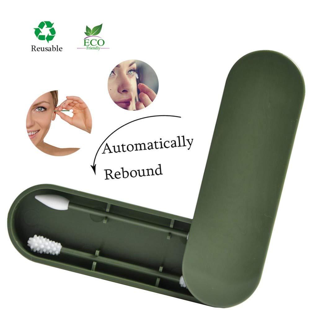 R/éutilisable coton-tige,Cotons-tiges Silicone Lavable S/éCurit/é Tampons en Coton le cas durable de stockage,Outil de beaut/é /à Double t/ête en Silicone Green