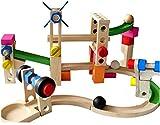 Juguete educativo para niños pre-escolar Tobogán de bolas Juego de construcción de juguete de madera Roller Coaster Circuito de canicas