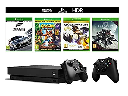 Xbox One X with Forza 7, Crash Bandicoot, Destiny 2, and