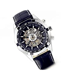 Lancardo Reloj Comercial Mecánico Automático con Dial Hueco de Metal Pulsera Casual de Moda con Correa de Cuero para Viaje Negocios para Hombre (Negro)
