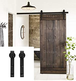 Erfect 66 FT Brown Basic Wood Barn Door Steel Antique Style Sliding Hardware Track Set Coffee