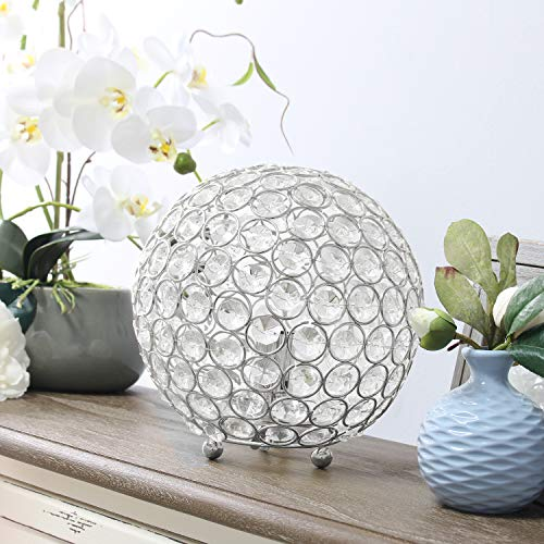 Elegant Designs LT1026-CHR Crystal Ball Table Lamp, Chrome Crystal Spheres Table Lamp