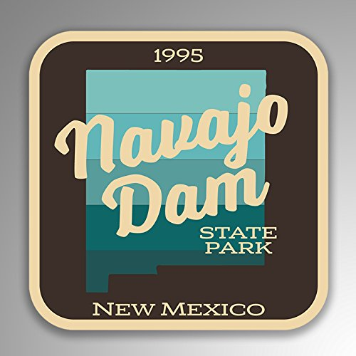 JMM Industries Navajo Dam State Park New Mexico Vinyl Decal Sticker Retro Vintage Look 2-Pack 4-inches by 4-inches Premium Quality UV Protective Laminate SPS074