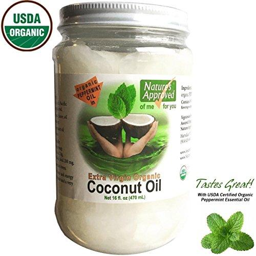 100% Organic Extra Virgin Peppermint Coconut Oil (16 oz) ...