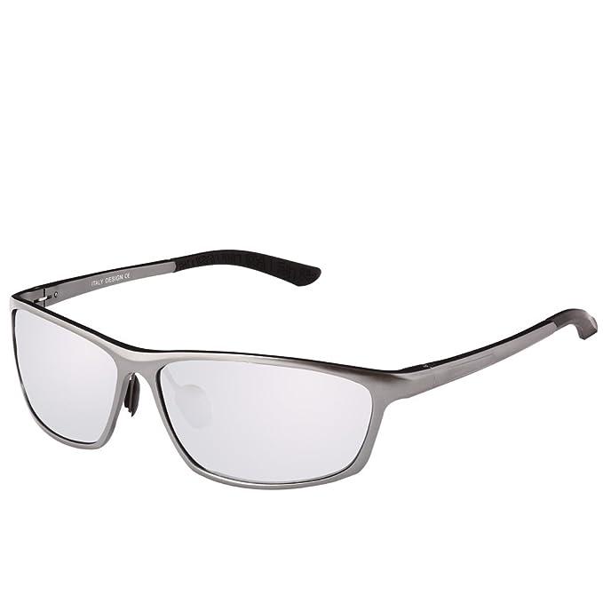 DUCO 2179S Gafas de Sol Deportivas Polarizadas para Conducir Marco Gunmetal Lentes Plateadas tipo Espejo: Amazon.es: Ropa y accesorios