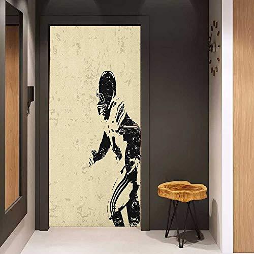 (Onefzc Glass Door Sticker Decals Sports Rugby Player in Action Running Success in Arena Playground Sport Best Team Picture Door Mural Free Sticker W23 x H70 Beige Black)
