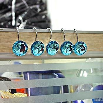teal shower curtain hooks. Shower Curtain Hooks Diamond Shape Rings Round Acrylic Decorative  Rhinestones Bling Rolling Bathroom Bath Amazon com Aqua Blue Orbit 12 Retro Ball