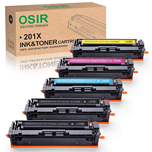 OSIR 201X M252dw Compatible Toner Cartridge Replacement for HP 201X 201A CF400X CF400A, 5-Pack, Work with Color Laserjet Pro MFP M277dw M252dw M277 M277n M252n M277c6 M274n Printer ()
