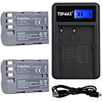TOP-MAX 2X EN-EL3e Battery with USB Charger LED Screen for Nikon D30 D50 D70 D70S D90 D80 D100 D200 D300 D300S D700