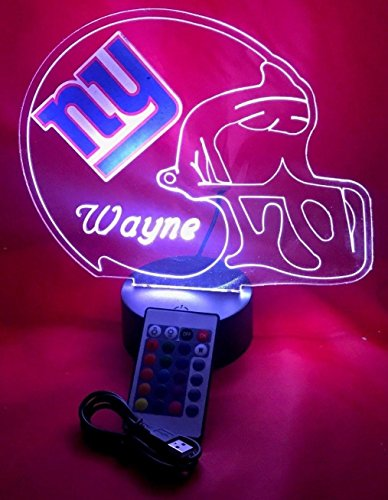NY Giants NFL Light Up Lamp LED Personalized Free New York Giants Football Light Up Lamp LED Table Lamp, Our Newest Feature - It's WOW, With Remote, 16 Color Options, Dimmer, Free Engraved, Great Gift