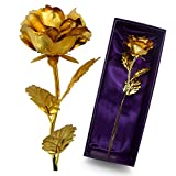 UniteStone Monther Day Gift 24K Gold Foil Artificial Rose Flower Birthday Gift
