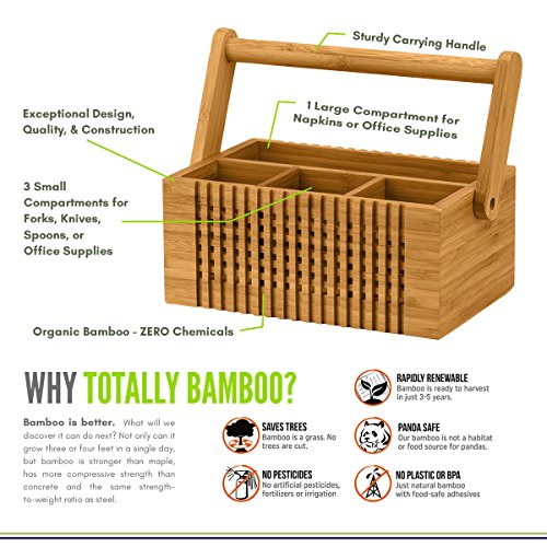 Totally Bamboo Lattice Flatware Caddy with Handle by Totally Bamboo (Image #1)