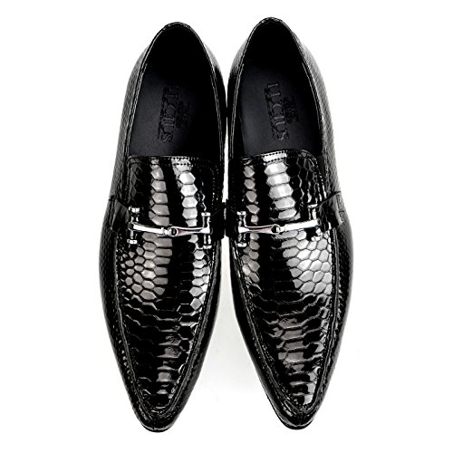 Lucius Leather Mens Dress Shoes Slip-On Medallion A13-80 Black RZRuy