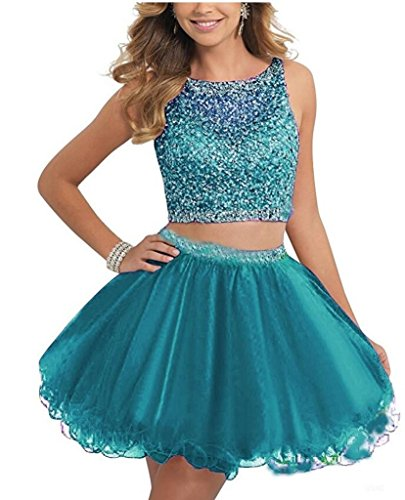 Review TANGFUTI Two Piece Homecoming Dresses Short Beaded Tulle Prom Gowns