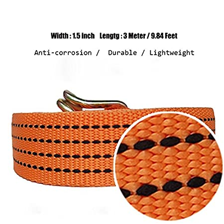 RS-501-5 Meter//16.4 Feet x 1 inch - 2200 Lbs AA Products Heavy Duty Securing Ratchet Straps with Double J-hooks 4 Packs