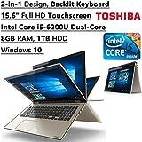 "2016 Toshiba Satellite Fusion 2-in-1 Flagship High Performance 15.6"" FHD Touchscreen Backlit Keyboard Laptop PC  Intel Core i5-6200U Dual-Core  8GB RAM  1TB HDD  Bluetooth  WIFI  Windows 10"