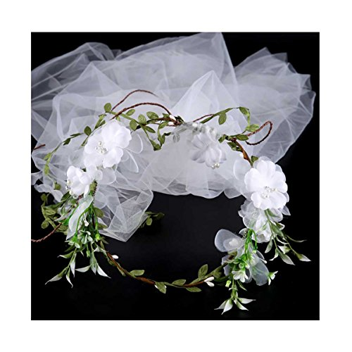 band With Veil For Bridal Floral Hair Crown Wedding Wreath E210 Style 8 (Bridal Floral Veil)