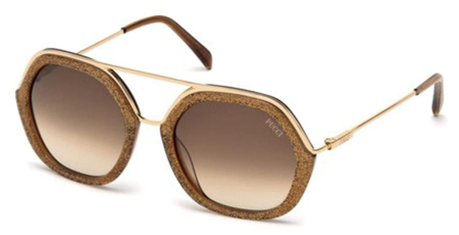 1575debae9 New Emilio Pucci Sunglasses Women EP 0014 14 Gold 47F EP0014 53mm at Amazon  Men s Clothing store