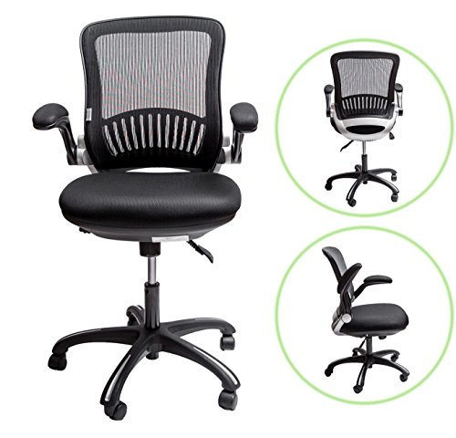 Sleekform Office Desk Chair | Ergonomic Mid-back Swivel Task Chair with Lumbar Support | Height Adjustable Seat & Arms | Breathable Mesh Back | 2-1 Synchro Tilt Control | 4.3