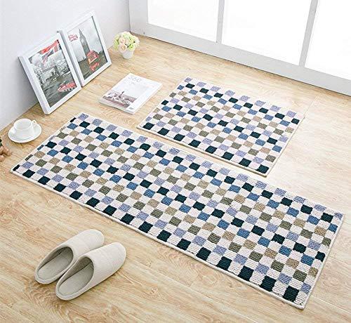 EUCH Non-slip Rubber Backing Carpet Kitchen Mat Doormat Runner Bathroom Rug 2 Piece Sets,17
