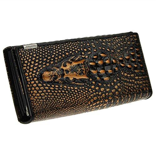 Damen lange Echtleder Geldbörse Portemonnaie Handytasche Luxuriös aber Elegant Still Mädchen Geldbeutel Wallet Card Case Holder Brieftasche Bronze