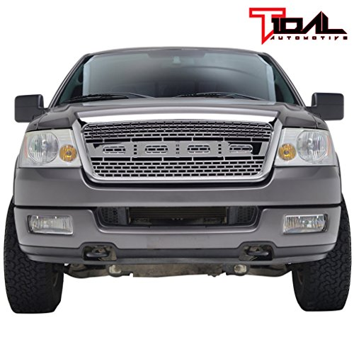 Tidal Front F150 Replacement Grille Upper Full Chrome Grill for 04-08 Ford F-150 (Ford Grille F-150 Chrome)
