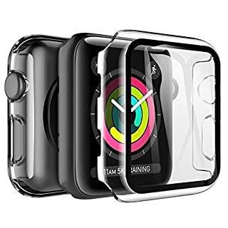 LK [2 Pack] Tempered Glass Case for Apple Watch 38mm Series 3/2/1 Built-in Tempered Glass Screen Protector, Hard PC Protector Cover for iWatch 38mm (Clear)