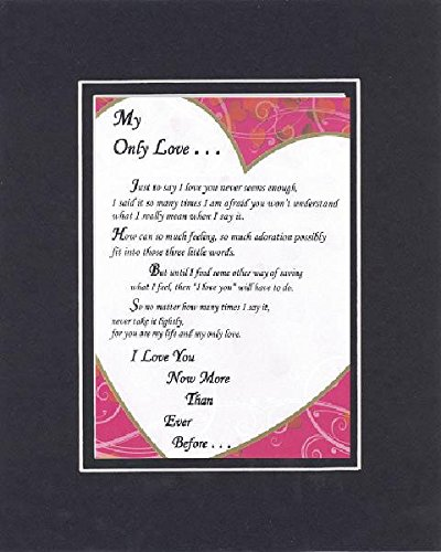 GoodOldSaying - Poem for Marriage & Love - My Only Love Poem on 11 x 14 inches Double Beveled Matting (Black On Black)