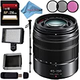 Panasonic Lumix G Vario 45-150mm f/4-5.6 ASPH. MEGA O.I.S. Lens + 256GB SDXC Card + 52mm 3 Piece Filter Kit + Deluxe 70 Monopod + Card Reader + Fibercloth Bundle