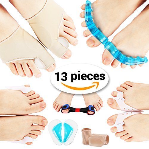 PediGoo Bunion Corrector Deluxe Kit, Fast Bunion Relief Sleeves with Gel, Pedicure Toe Separators Spacers, Arch Support Pads - Unisex Fit - 13 Pieces by PediGoo (Image #1)