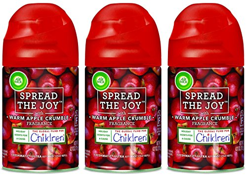 (Air Wick Freshmatic Ultra Automatic Spray Refill - Spread The Joy - Holiday Collection 2017 - Warm Apple Crumble - Net Wt. 6.17 OZ (175 g) Per Refill Can - Pack of 3 Refill Cans)