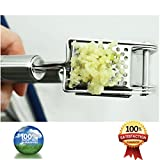 EcoJeannie Professional Garlic Press (GP0002) with Round Holes with Free Brush , Heavy Duty, Commercial Grade, Stainless Steel