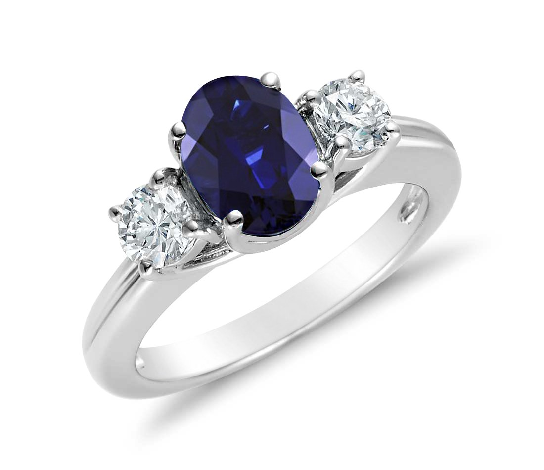 2.00CTW Genuine Diamond and Oval Sapphire 3 Stone Ring in 14k White Gold (7)